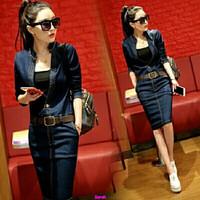 Jual Dress midi jeans-baju grosir-dress online-fashion wanita-polos-AL Murah