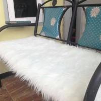 Jual Karpet Bulu Korea Putih 50x130cm Kain Bulu Serbaguna Murah