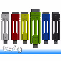 Twig Tripod Ultra Portable USB Cable for iPhone 30pin apple merah