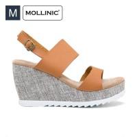 Sepatu Wanita Mollinic Atlan Strap Wedges Tan