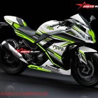 Decal stiker Ninja 250R Fi White Super Green (FULLBODY)