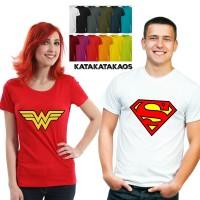 Jual Baju Kaos Couple Superman Wonderwoman. Kaos Movie. Tumblr tee Murah