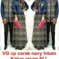 sepasang setelan baju couple wanita gamis maxi pria hem kemeja batik
