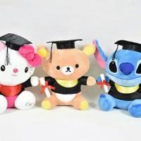 Jual Boneka Wisuda Toga Sarjana Hello Kitty Rilakuma Doraemon Stitch Murah