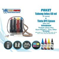 Paket Tabung Infus Sudah Isi Tinta DYE One Ink Epson 60ml Siap Pasang
