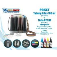 Paket Tabung Infus Plus Tinta DYE One Ink HP 100ml Siap Pasang