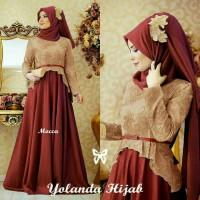 Yola Hijab gamis pesta ungu kombinasi marun mewah bagus murah