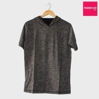 Jual Baju Kaos Polos Hoodie Lengan Pendek - Abu Charcoal Misty Murah