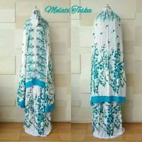 Mukena Rayon Bali Jumbo motif Sakura Bunga melati dasar putih