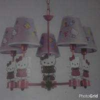 lampu hias gantung anak cabang 5 hello kitty cocok untuk kamar tidur G