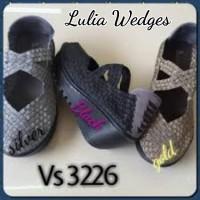 harga Sepatu Lulia Wedges Tali Silang Black Heels Tokopedia.com