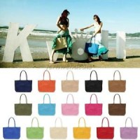Jual tas wanita _  New Fashion Womens Summer Paper Straw Large Tote Bag Bea Murah