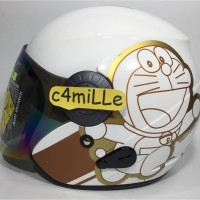 HELM BMC INOVA MOTIF RETRO DORAEMON WHITE GOLD HALF FACE
