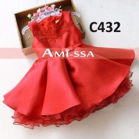 Jual C432 Dress AM Embroidery Red Murah