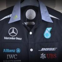pakaian baju kemeja bordir automotif F1 Mercedes Benz hitam