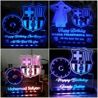 Jual Jam Led Acrilyc klub bola Barcelona Chelsea Manchester united Murah