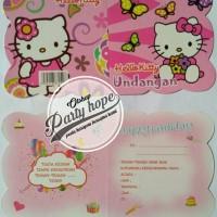 Kartu undangan ulang tahun / undangan ultah hello kitty / undangan