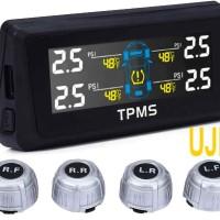 Sensor Tekanan Ban Mobil Wireless Tenaga Sel Surya With LCD Monitor M1