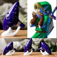 Alat Musik Tiup Flute Replika Zelda Ocarina Bahan Keramik - Blue