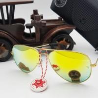 kacamata unisex rayban diamond kuning gagang gold super full set