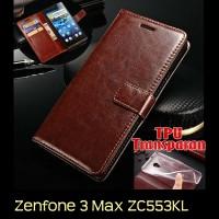 Jual Asus Zenfone 3 Max ZC553KL Retro PU Leather Flip Case Luxury Wallet Murah