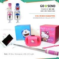 PAKET VR BOX MINI:  DORAEMON / HELLO KITTY + TONGSIS & LAMPU USB