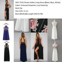 Jual Flower Halter Long Dress (WHITE size L) Murah