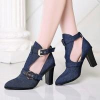 Heels Boots Jeans Heeled Biru Tua