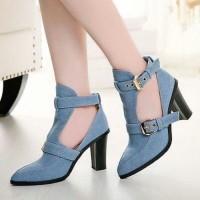 Heels Boots Jeans Heeled Biru Muda