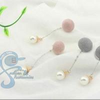 Anting Pom Pom Pearl Import Fashion Korea