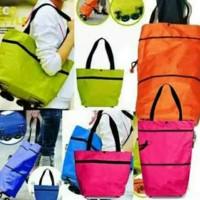 Jual Tas Belanja Lipat roda Praktis Serbaguna Foldable Trolley Shopping Bag Murah