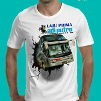 Tshirt 3D Bus, Baju Kaos Pria 3D Bus Laju Prima Karoseri Adi Putro