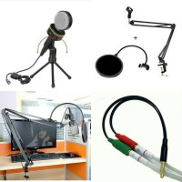 Condenser Microphones SF-930 + stand arm + pop filter + Splitter audio
