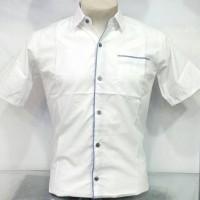 Jual Kemeja Slim Fit Fashion Pria Putih Lis Biru Muda Lengan Pendek KPL-86B Murah