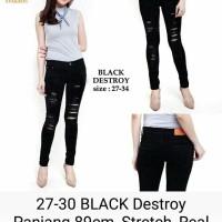 Jual Celana Panjang Jeans Hitam Black Destroy wanita Murah