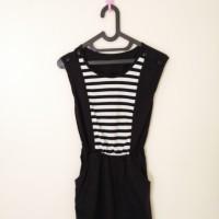 Mini Dress Wanita - Katun - Hitam dengan Stripes - XS