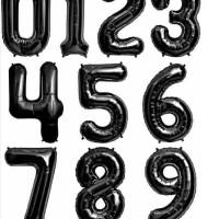 Jual Balon Foil Huruf Angka Hitam / Black 40cm Murah