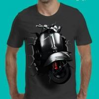 grosir t shirt baju kaos 3d motor vespa piagio terbaru