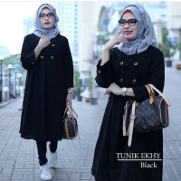 Tunik ekhy black / blouse panjang muslimah dress hitam baju formal cas