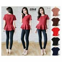 Jual L0548 SUMIKO PEPLUM TOP (Blouse Wanita Baju Atasan Murah Ready Stock) Murah
