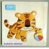 Puzzle Kayu Mini Tiger, Mainan Kayu Edukatif Anak TK PAUD
