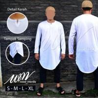 Jual Baju Muslim Pria Model Gamis Pakistan Putih Bahan Kaos Murah