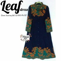 Long Dress Maxi Wanita Muslim polos bordir leaf navy XL busui