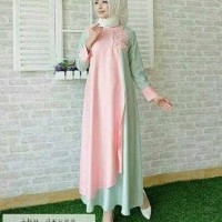 Dress Ika Pakaian Panjang Fashion Modis Wanita Muslim Modern Trendy