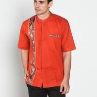 Baju koko batik, busana muslim pria kualitas premium TN 38 oren