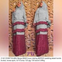Maxi Gamis Dress Busana Muslim LRS 2142 Chintya Abu Jumbo fit XXL