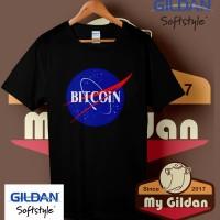 Kaos Original Gildan - T Shirt - Kaos Gildan Funny Bitcoin Nasa Logo