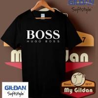 Kaos Original Gildan - T Shirt - Kaos Gildan Branded Hugo Boss Logo
