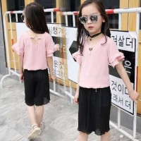Korean Girl Set - Yellow/Pink Top Black Kulot / Setelan Anak Cewek