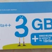 Voucher Vocher Fisik Isi Ulang 3 TRI THREE Aon 3GB 3 GB Pulsa 10000